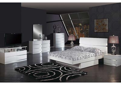 Aurora White Queen Bed w/Dresser, Mirror & Drawer Drawer Chest,Global Furniture USA