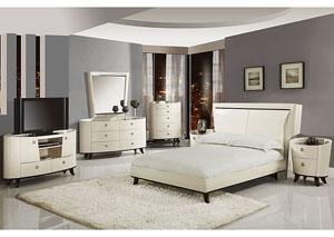 Angelica Beige Queen Bed, Dresser & Mirror