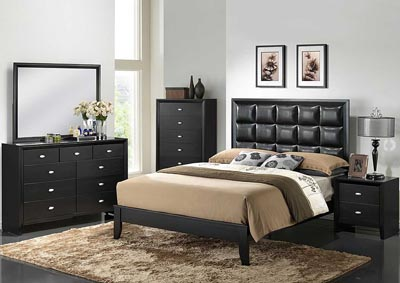 Carolina Black Queen Bed w/Dresser & Mirror,Global Furniture USA