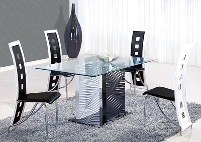 Black/Clear Glass Dining Table & 4 Black Chairs