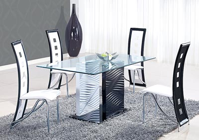 Black/Clear Glass Dining Table & 4 White Chairs