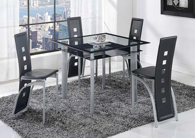 Black Stripe Bar Table & 4 Stools