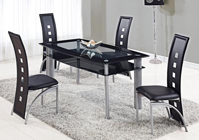 Clear w/ Black Trim Dining Table & 4 Chairs