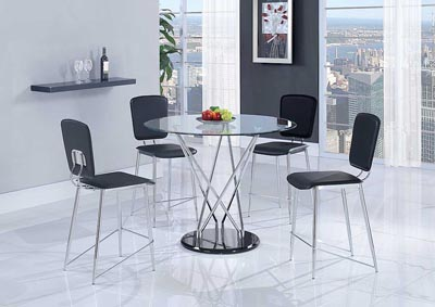 Clear, Chrome & Black Bar Table & 4 Stools,Global Furniture USA
