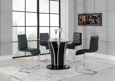 Black Bar Table & 4 Black & Chrome Stools,Global Furniture USA