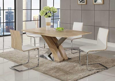 White Dining Table w/4 Side Chairs,Global Furniture USA