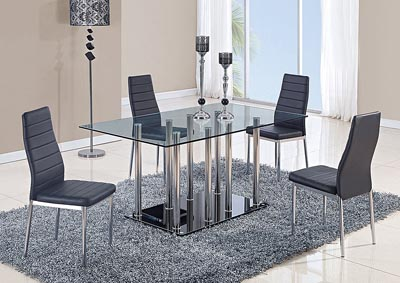 Black Dining Table & 4 Chairs