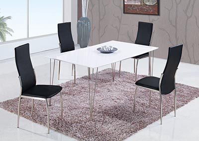 White High Gloss Dining Table & 4 Black Chairs