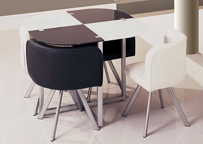 Black/White/Silver Dining Table & 4 Chairs