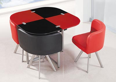 Black/Red/Silver Dining Table & 4 Chairs