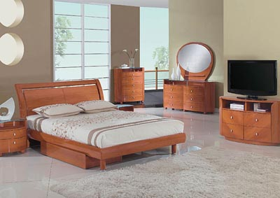 Emily Cherry King Bed w/Dresser, Mirror & Drawer Drawer Chest,Global Furniture USA