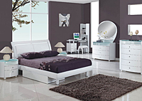 Emily White Twin Bed w/Dresser & Mirror,Global Furniture USA