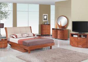 Evelyn Cherry Queen Bed, Dresser, Mirror & Chest