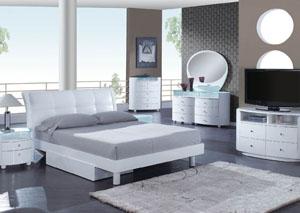 Evelyn White Queen Bed, Dresser, Mirror & Chest