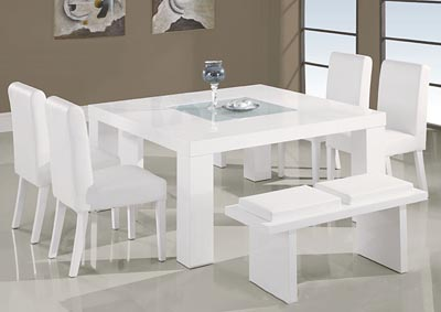 White Dining Table w/ Frosted Glass Insert, 4 Chairs & Bench