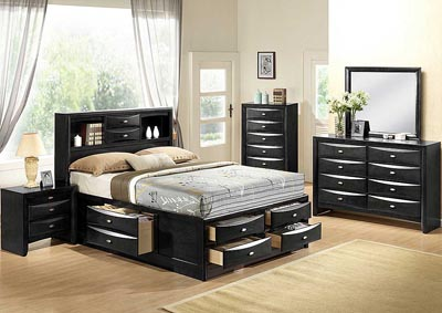 Linda Black King Bed w/Dresser & Mirror,Global Furniture USA