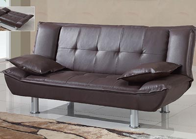 Brown Faux Leather Sofabed,Global Furniture USA