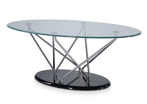 Clear, Chrome & Black Coffee Table
