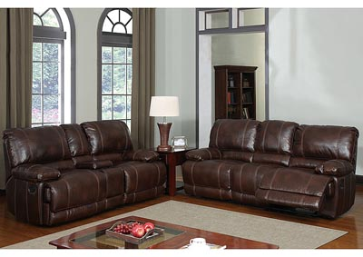 Brown Bonded Leather Reclining Sofa w/ Reclining Loveseat