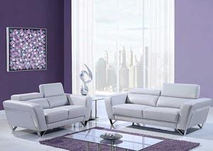 Natalie Light Gray Sofa & Loveseat w/Headrest Function,Global Furniture USA
