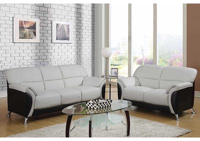Light Gray & Black Sofa & Loveseat