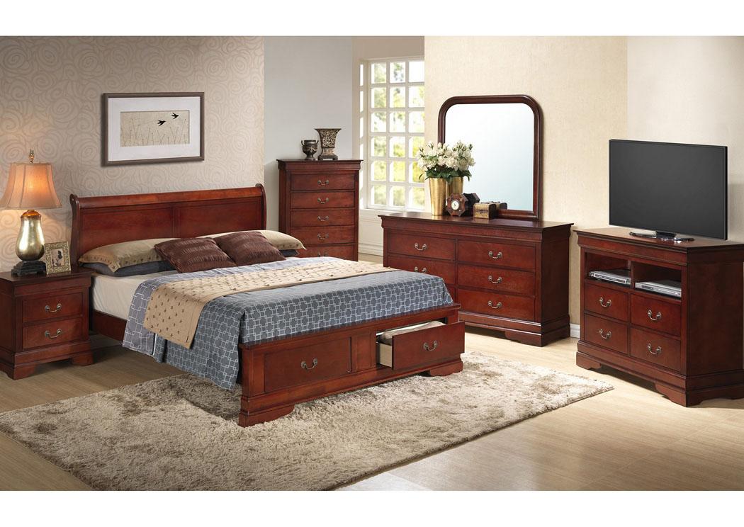 cherry queen low profile storage bed dresser mirror chest night
