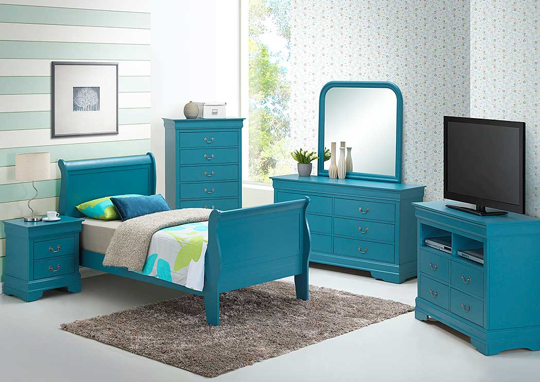 Best Buy Furniture And Mattress Teal Full Sleigh Bed Dresser Mirror Chest Nightstand