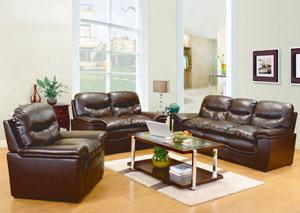 Brown Bonded Leather Sofa & Loveseat,Glory Furniture