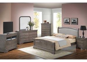 Grey Queen Low Profile Bed w/ PU Insert, Dresser & Mirror,Glory Furniture