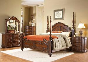 Prenzo Warm Brown Queen Poster Bed,Homelegance