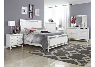 Alonza Bright White Queen Panel Bed,Homelegance