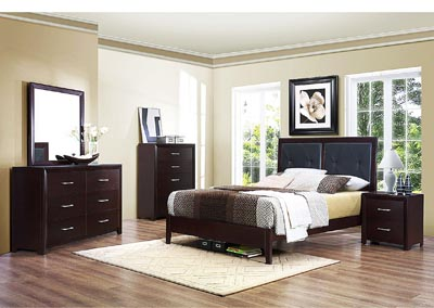 Edina Brown Espresso Upholstered Queen Platform Bed w/ Dresser, Mirror and Nightstand,Homelegance