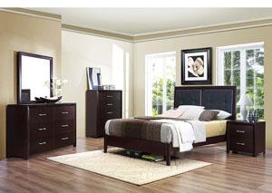 Edina Brown Espresso Upholstered Queen Platform Bed w/ Dresser, Mirror and Nightstand,Homelegance