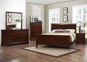 Mayville Burnish Brown Cherry Queen Sleigh Bed w/ Dresser, Mirror and Nightstand,Homelegance
