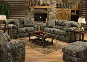 Big Game Mossy Oak Sleeper Sofa, Loveseat & Chair w/ Ottoman