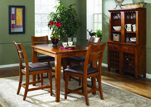 Urban Craftsmen Square Dining Table w/ 4 Side Chairs, Buffet & Hutch