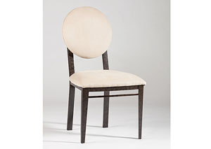 Amber Round Beige Upholstered Back Side Chair (Set of 2)