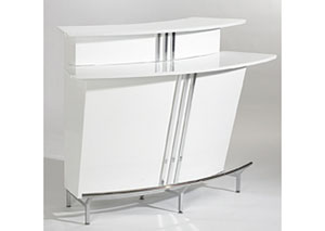 Broadway White Bar w/ Stainless Steel Footrest
