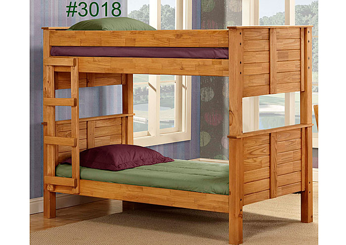 Rice Furniture Appliance Twin Twin Post Bunk Bed Ginger Finished