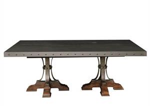 Reddington Wood Top Dining Table w/Metal Base,Pulaski Furniture
