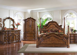 San Mateo Queen Poster Bed, Dresser, Mirror, Armoire, and Nightstand
