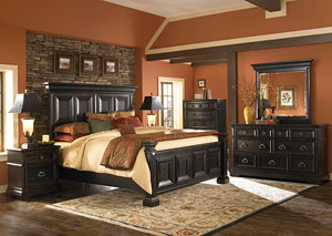 Brookfield Queen Bed, Dresser, Mirror, and Drawer Chest,Pulaski Furniture