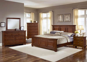 Reflections Medium Cherry Queen Panel Bed w/ Dresser and Mirror,Vaughan-Bassett