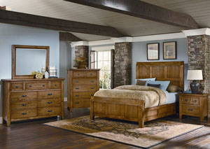 Timber Mill Oak Queen Panel Bed w/ Chest, Mirror and Nightstand,Vaughan-Bassett