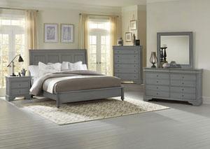 French Market Zinc Queen Sleigh Bed w/ Dresser, Mirror and Nightstand,Vaughan-Bassett