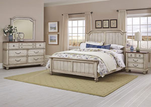 Arrendelle Driftwood Queen Panel Bed w/ Dresser and Mirror,Vaughan-Bassett